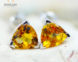 14K White Gold Citrine Earrings - 97 - E E3488 1700