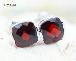 14K White Gold Garnet Earrings - 93 - E E2420 1850