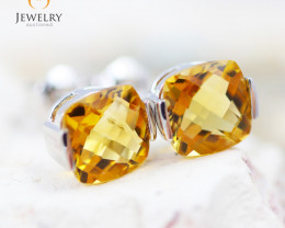 14K White Gold Citrine Earrings - 92 - E E2420 1750