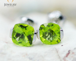 14K White Gold Peridot Earrings - 89 - E E2420 1350