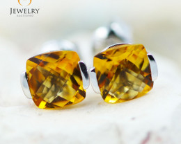 14K White Gold Citrine Earrings - 87 - E E2420 1300