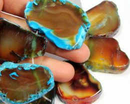 596 CTS AQUA COLOUR NATURAL SHAPE STAND AGATE BEADS AGR 341