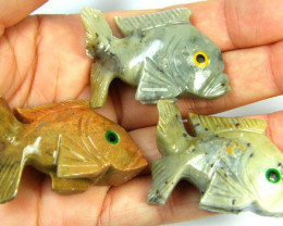 270 CTS PARCEL 3 CUTE FISH ROCK CARVINGS FROM PERU AAA 1033