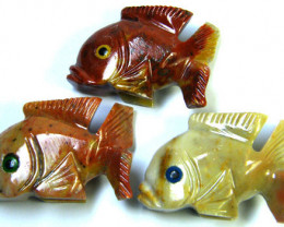 270 CTS PARCEL 3 CUTE FISH ROCK CARVINGS FROM PERU AAA 1044