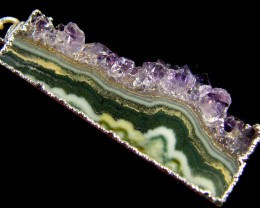 36 CTS CHARACTER AMETHYST SLICE PENDANT AG 1063