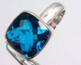 SEA BUE TOPAZ RING IN SILVER SIZE 8    QT 500