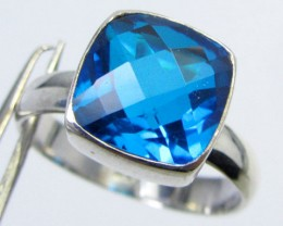 SEA BLUE  TOPAZ RING IN SILVER SIZE6.5   QT 503