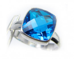 SEA BLUE  TOPAZ RING IN SILVER SIZE L.5   QT 503