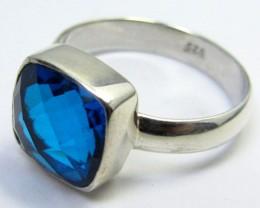 SEA BLUE  TOPAZ RING IN SILVER SIZE L QT 504