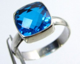 SEA BLUE  TOPAZ RING IN SILVER SIZEN   QT 505