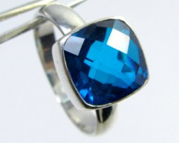SEA BLUE  TOPAZ RING IN SILVER SIZE R  QT 506