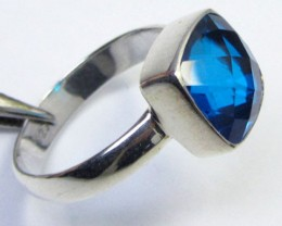 SEA BLUE  TOPAZ RING IN SILVER SIZE T QT 508