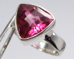 PINK TRILLION   TOPAZ  RING IN SILVER SIZE 7 QT 509