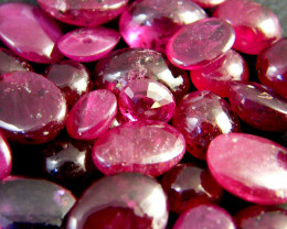 20 CTS MIXED QUALITY GRADE BLOOD RED RUBIES CABOCHON LOT RM480