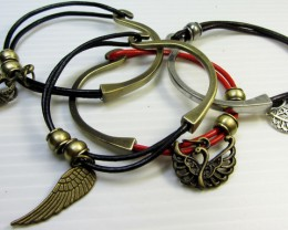 PARCEL DEAL FOUR LEATHER/BRONZE  BRACELETS QT 517