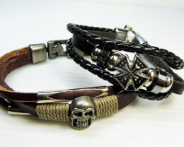 TWO   LEATHER SKULL N CROSS  BRACELETS QT 526