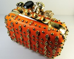 SKULL HANDBAG- HOT ORANGE STUDS/SKULL  QT 533