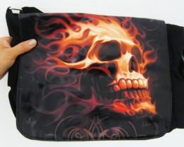 FLAMING SKULLS MESSENGER BAG BY TOM WOODS QT5 50
