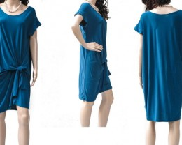 Teal Blue Polyester Dress, Plus Size Wrap, Formfit