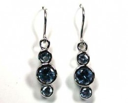 MODERN AQUAMARINE LIKE STERLING SILVER EARRINGS AAA583