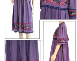 Purple Dress, Lavish Embroidery,Boho Cotton Kaftan