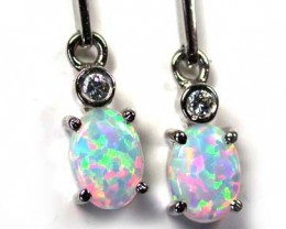 BEAUTIFUL MAN MADE MULTI FIRE  OPAL EARRING  MLE20