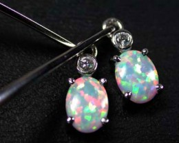 BEAUTIFUL MAN MADE  OPAL EARRING  MLE20
