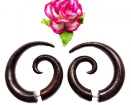 French Spirals Fake Gauge Earrings Brown Sono Wood