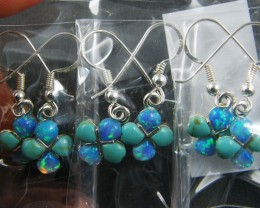 TRADE DEAL3 IMO  CLUSTER OPAL   SILVER EARRINGS  MYT 283