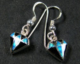 IMO OPAL INLAY   STERLING SILVER EARRINGS     MYT659
