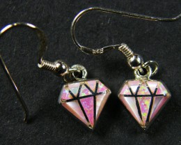 IMO OPAL INLAY   STERLING SILVER EARRINGS     MYT661