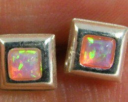 MODERN IMO OPAL  SQUARE SHAPE SILVER EARRING    MYT 830