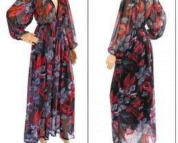 Sexy Black Red Floral Chiffon Dress,Plus Size