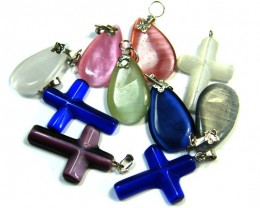 TEN  PRETTY  MULTI COLOUR PENDANTS  AAA 2503