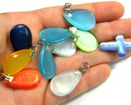 TEN  PRETTY  MULTI COLOUR PENDANTS  AAA 2505
