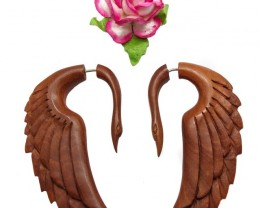 Wild Swans Fake Gauge Earrings Brown Sono Wood