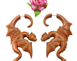 Wild Dragons Fake Gauge Earrings Brown Sono Wood