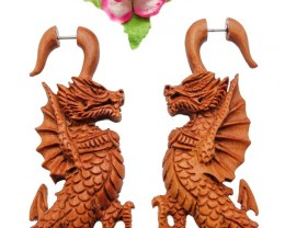 Goth Dragons Fake Gauge Earrings Brown Sono Wood