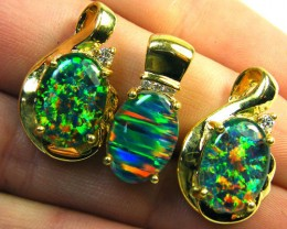 3 BRIGHT OPAL STER SILVER G/PLATE PENDANTS  SCA1609
