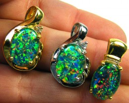 3 BRIGHT OPAL STER SILVER G/PLATE PENDANTS  SCA1614
