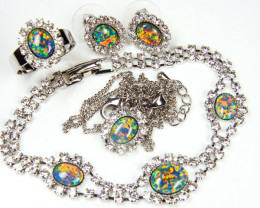 COMPLETE FOUR PIECE SET OPAL JEWELERY   GTT 1081