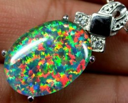 POPULAR FASHION OPAL PENDANTS RHODIUM  PLATED SCA 536 ML