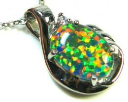 GEM FIRE OPAL IN SILVER PENDANT  WITH CZ  SCA2252