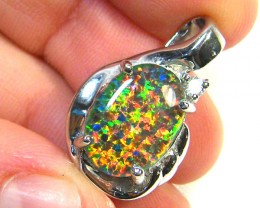 GEM FIRE OPAL IN SILVER PENDANT  WITH CZ  SCA 2255
