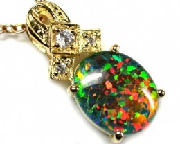 POPULAR FASHION OPAL PENDANTS RHODIUM PLATED SCA 542 ML