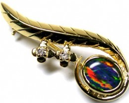 TRIPLET SIMULANT OPAL BROOCH WITH DIAMANTEES MYJA 913