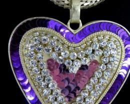 SEQUINCE  HEART DESIGN CREATIVE NECKLACE QT 121