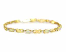 18K GOLD COOBER PEDY  OPAL BRACELET WITH DIAMONDS
