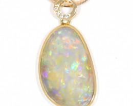 18K GOLD COOBER PEDY  OPAL PENDANT WITH DIAMOND [TP26]