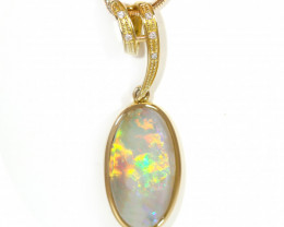 18K GOLD COOBER PEDY  OPAL PENDANT WITH DIAMOND [TP26]